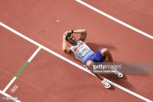 Adam Gemili of Great Britain reacts after the Men's 200 Metres final during day five of 17th IAAF World Athletics Championships Doha 2019 at Khalifa...
