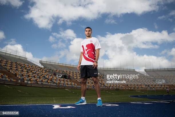 Adam Gemili poses during a Team England media opportunity ahead of the 2018 Gold Coast Commonwealth Games at Queensland Sport and Athletics Centre on...