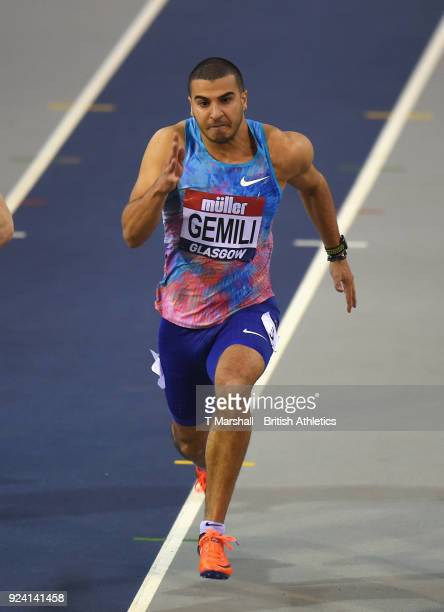 Adam Gemilli of Great Britain competes in the Men's 60m heats during the Muller Indoor Grand Prix event on the IAAF World Indoor Tour at the Emirates...