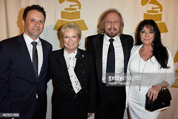 Adam Gibb Yvonne Gibb honoree Barry Gibb and Linda Gray attend The 57th Annual GRAMMY Awards Special Merit Awards Ceremony on February 7 2015 in Los...