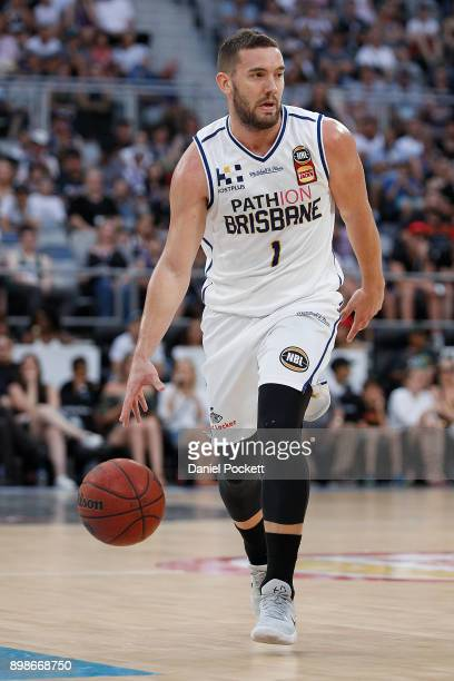 Adam Gibson of Brisbane Bullets runs with the ball during the round 12 NBL match between Melbourne United and the Brisbane Bullets at Hisense Arena...