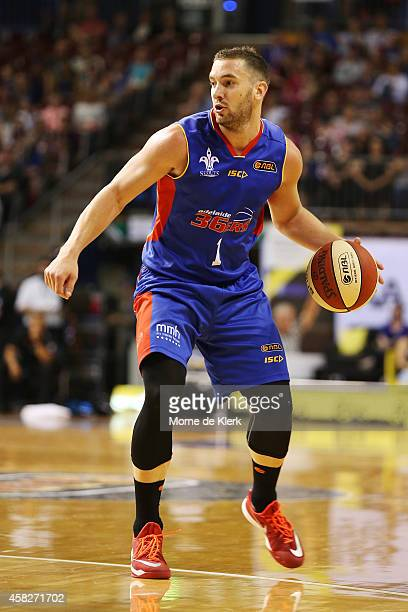 Adam Gibson of the 36ers brings the ball up during the round four NBL match between the Adelaide 36ers and the New Zealand Breakers at Adelaide Arena...