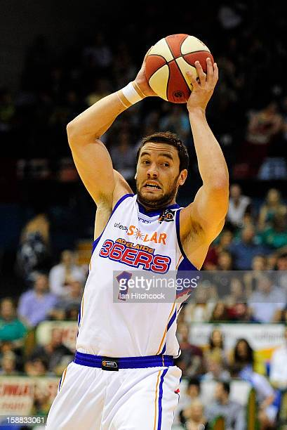 Adam Gibson of the 36ers looks to pass the ball during the round 12 NBL match between the Townsville Crocodiles and the Adelaide 36ers at Townsville...