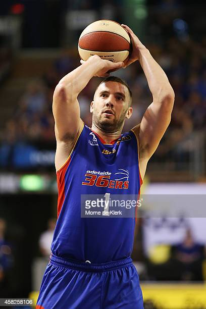 Adam Gibson of the 36ers shoots a free throw during the round four NBL match between the Adelaide 36ers and the New Zealand Breakers at Adelaide...