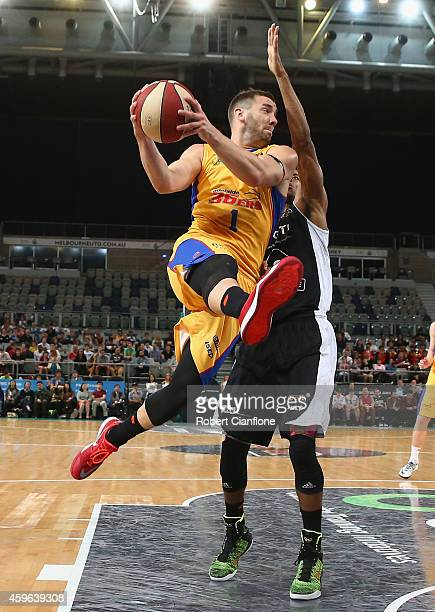 Adam Gibson of the Adelaide 36ers attempts to shoot during the round eight NBL match between Melbourne United and Adelaide 36ers at Hisense Arena on...