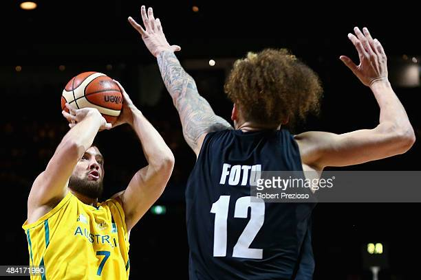 Adam Gibson of the Boomers drives to the basket during the game one match between the Australian Boomers and New Zealand Tall Blacks at Rod Laver...