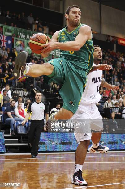 Adam Gibson of the Boomers drives to the basket during the Men's FIBA Oceania Championship match between the Australian Boomers and the New Zealand...