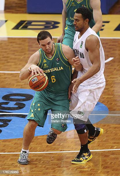 Adam Gibson of the Boomers in action during the Men's FIBA Oceania Championship match between the Australian Boomers and the New Zealand Tall Blacks...