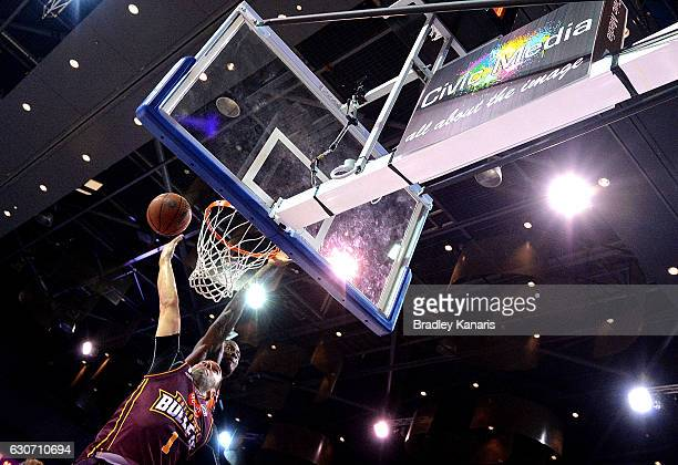 Adam Gibson of the Bullets drives to the basket during the round 13 NBL match between Brisbane and Cairns on December 31 2016 in Brisbane Australia