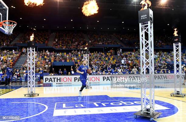 Adam Gibson of the Bullets enters the court before the round 15 NBL match between the Brisbane Bullets and Melbourne United at Brisbane Entertainment...