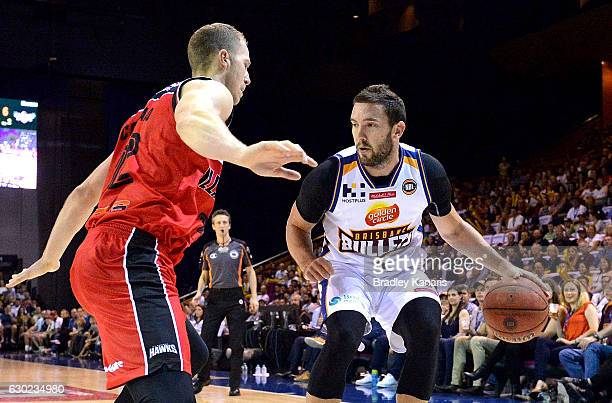 Adam Gibson of the Bullets in action during the round 11 NBL match between the Brisbane Bullets and Illawarra Hawks at the Brisbane Convention and...
