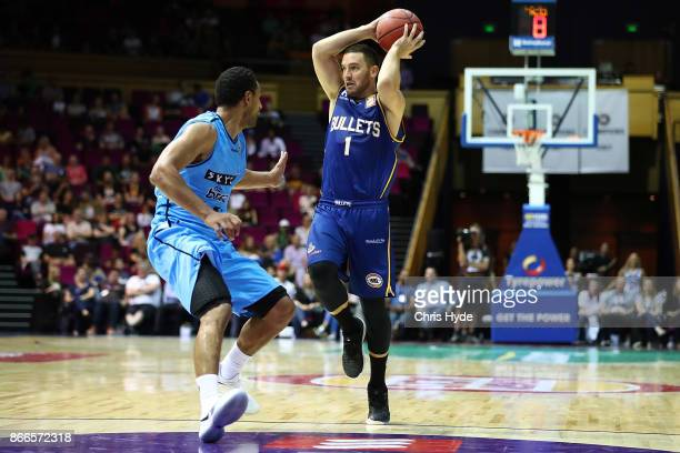Adam Gibson of the Bullets passes during the round four NBL match between the Brisbane Bullets and the New Zealand Breakers at Brisbane Convention...