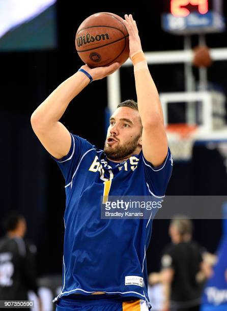 Adam Gibson of the Bullets shoots during the warmups before the round 15 NBL match between the Brisbane Bullets and Melbourne United at Brisbane...