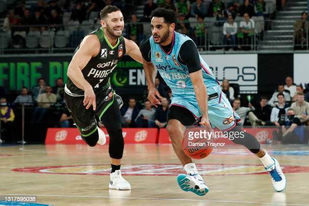 Adam Gibson of the Phoenix guards Corey Webster of the Breakers during the round 18 NBL match between the South East Melbourne Phoenix and the New...
