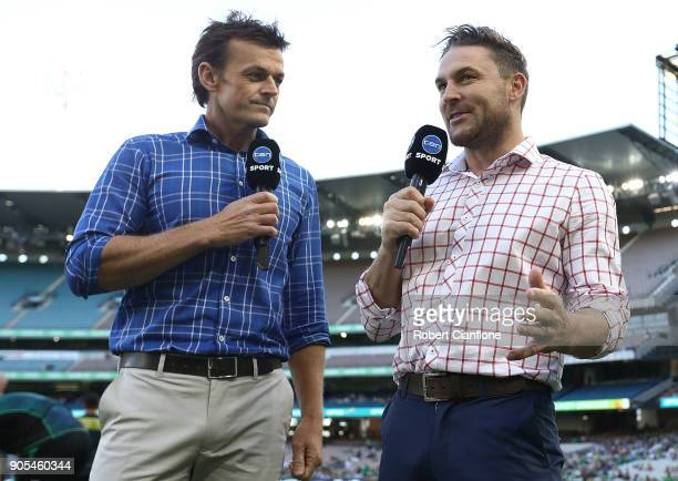 Adam Gilchrist and Brendon McCullum commentate during the Big Bash League match between the Melbourne Stars and the Sydney Sixers at Melbourne...