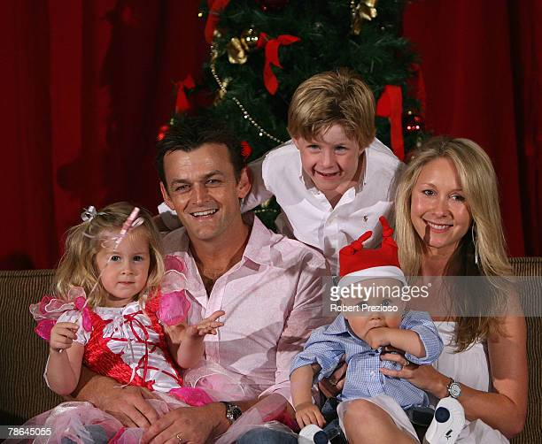Adam Gilchrist and wife Mel and their children Annie Harry and Archie pose during the Australian cricket team Christmas lunch at Crown Casino on...