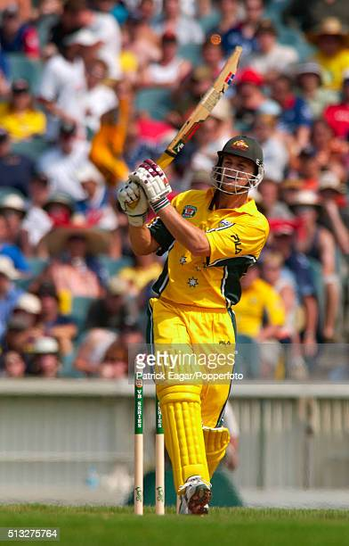 Adam Gilchrist batting for Australia during his innings of 124 for Australia in the One Day International between Australia and England at the...