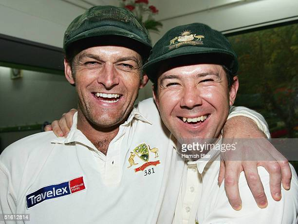 Adam Gilchrist captain of Australia is congratulated by regular captain Ricky Ponting on their team's win after day four of the Third Test between...