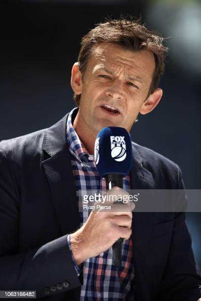 Adam Gilchrist commentates for Fox Cricket during game one of the Gillette One Day International series between Australia and South Africa at Optus...