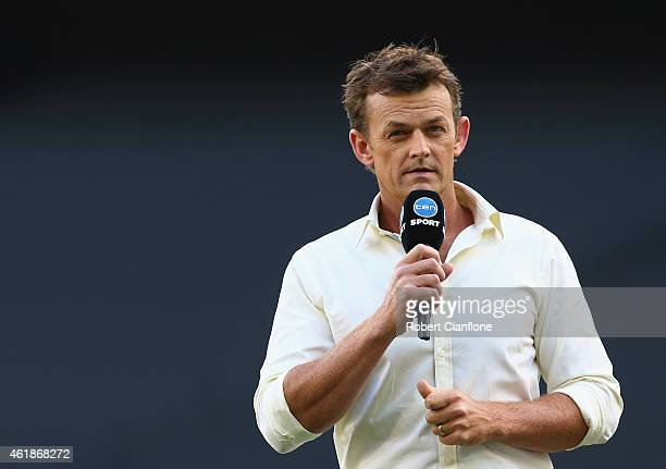 Adam Gilchrist commentates prior to the Big Bash League match between the Melbourne Stars and Perth Scorchers at Melbourne Cricket Ground on January...