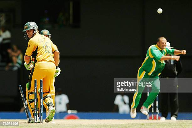 Adam Gilchrist is bowled by Charl Langeveldt for 1 run during the ICC Cricket World Cup Semi Final match between Australia and South Africa at the...