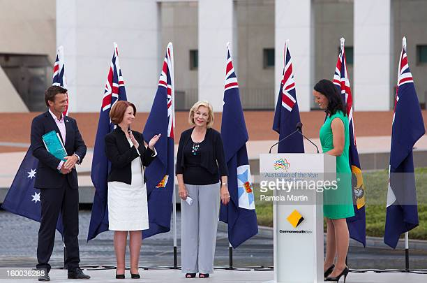 Adam Gilchrist Julia Gillard and Ita Buttrose attend the 2013 Australian of the Year Awards at on January 25 2013 in Canberra Australia