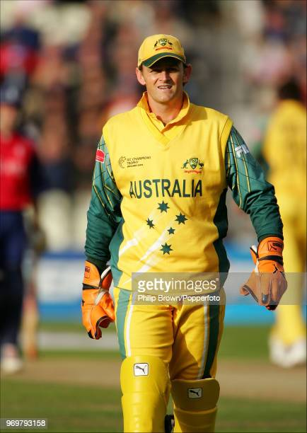 Adam Gilchrist keeping wicket for Australia during the ICC Champions Trophy Semi Final between England and Australia at Edgbaston Birmingham 21st...