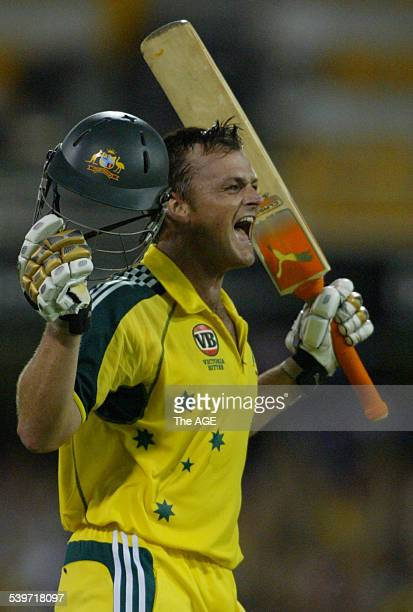 Adam Gilchrist makes a century in the final of the VB Series between Australia and Sri Lanka at the Gabba in Brisbane on 14 February 2006 THE AGE...