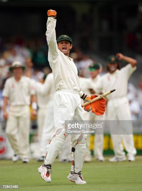 Adam Gilchrist of Australia celebrates after Australia's victory on day five of the third Ashes Test Match between Australia and England at the WACA...