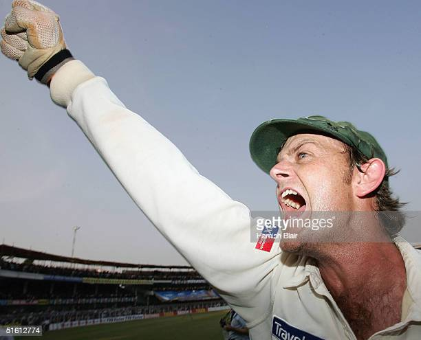 Adam Gilchrist of Australia celebrates his team's win after day four of the Third Test between India and Australia played at the VCA Stadium, on...