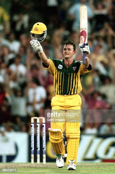 Adam Gilchrist of Australia celebrates reaching a century during a One Day International cricket match between Australia and Sri Lanka held at the...