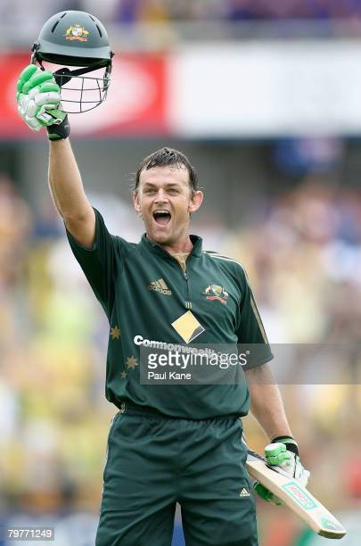 Adam Gilchrist of Australia celebrates scoring his century during the Commonwealth Bank Series match between Australia and Sri Lanka held at the WACA...