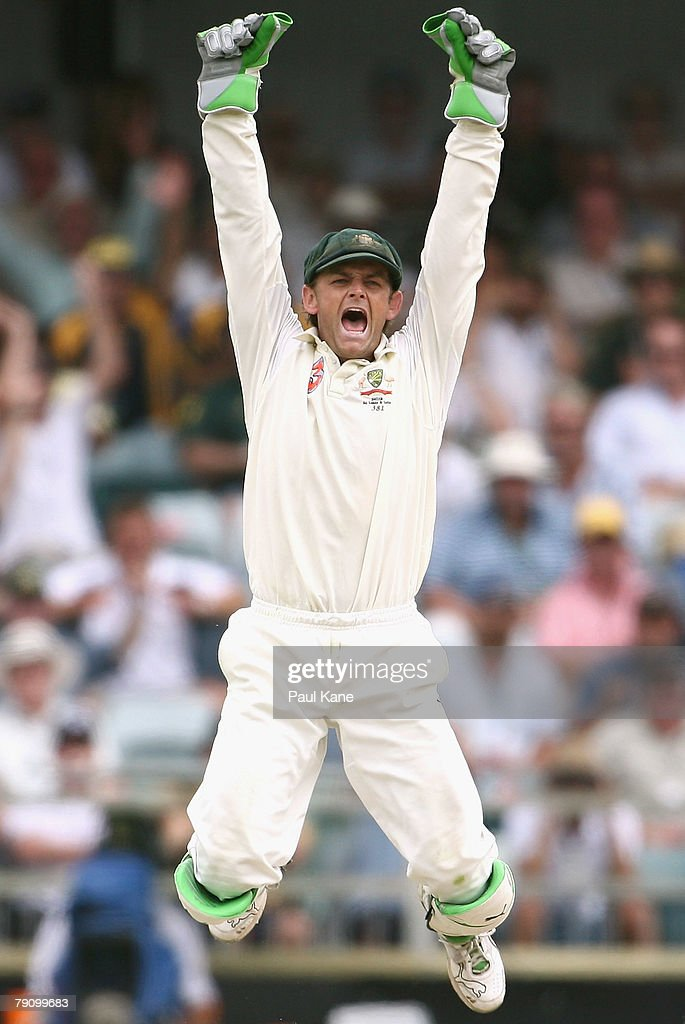 Adam Gilchrist of Australia celebrates the wicket of Anil Kumble during day three of the Third Test match between Australia and India at the WACA on January 18, 2008 in Perth, Australia.