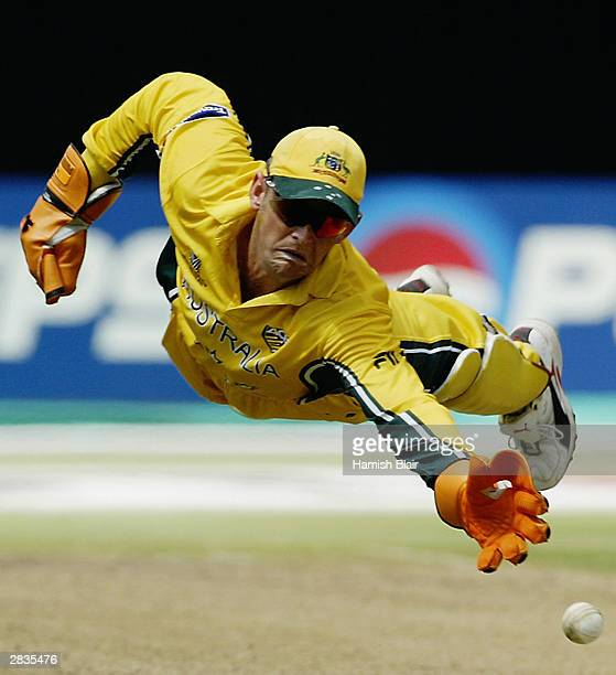 Adam Gilchrist of Australia dives for the ball during the ICC World Cup One Day International Pool A match between Australia and England held on...