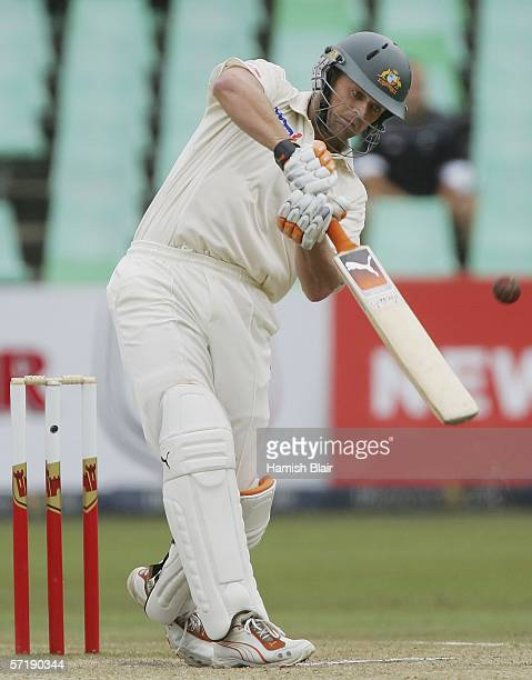 Adam Gilchrist of Australia hits a four during an over in which he took 22 runs off Andre Nel of South Africa during day four of the Second Test...