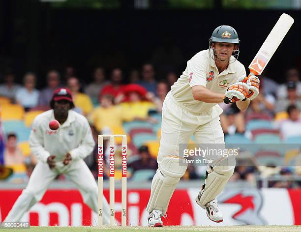Adam Gilchrist of Australia in action during day one of the First Test between Australia and the West Indies played at the Gabba on November 3, 2005...