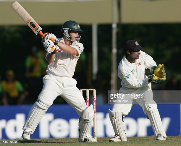 Adam Gilchrist of Australia in action during day two of the First Test between Australia and Sri Lanka played at Marrara Oval on July 2, 2004 in...