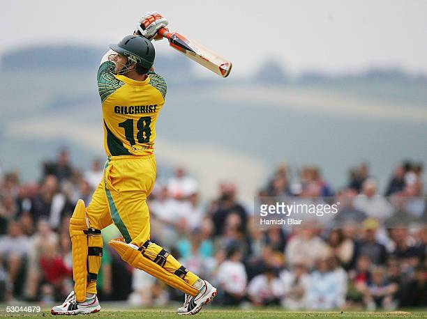 Adam Gilchrist of Australia in action during the Twenty20 match between the PCA Masters XI and Australia played at the Arundel Castle Ground on June...