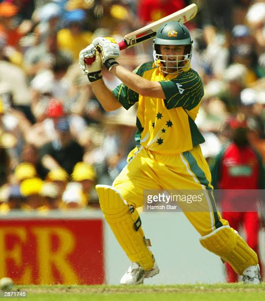 Adam Gilchrist of Australia in action during the VB Series One Day International between Australia and Zimbabwe January 16, 2004 at Bellerive Oval in...