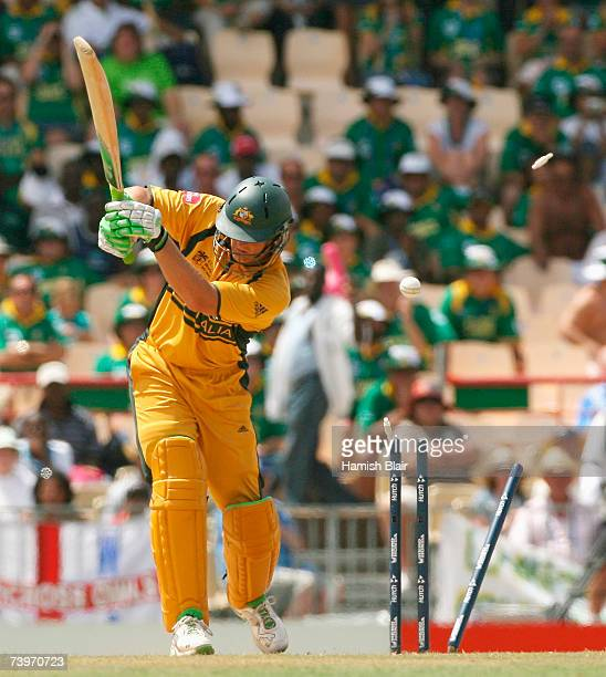Adam Gilchrist of Australia is bowled by Charl Langeveldt of South Africa during the ICC Cricket World Cup Semi Final match between Australia and...