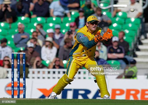 Adam Gilchrist of Australia keeping wicket during the ICC Champions Trophy match between Australia and New Zealand The Oval London 16th September...