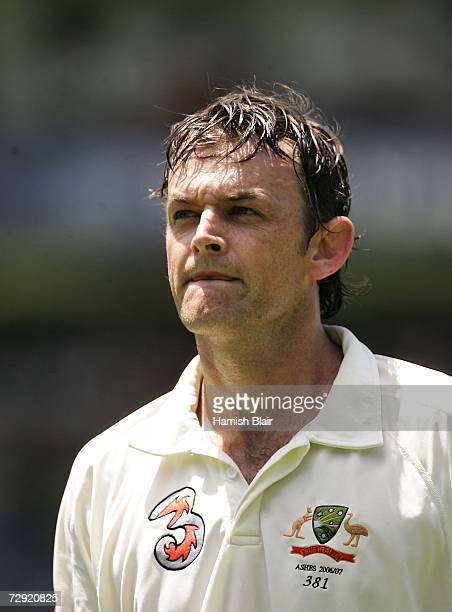 Adam Gilchrist of Australia leaves the field after being dismissed during day three of the fifth Ashes Test Match between Australia and England at...