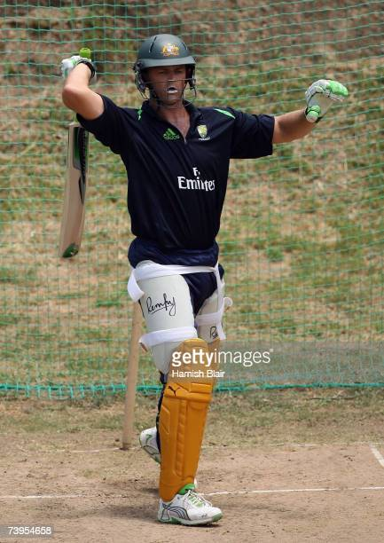 Adam Gilchrist of Australia looks on in the nets during training at the Beausejour Cricket Ground on April 23 in Gros Islet Saint Lucia