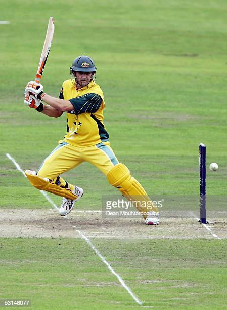 Adam Gilchrist of Australia plays a shot during the NatWest Series One Day International between Australia and Bangladesh played at Old Trafford on...