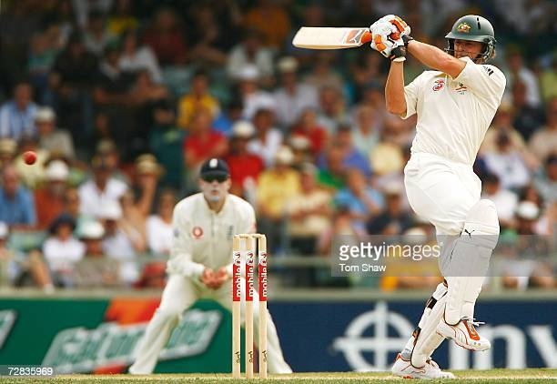 Adam Gilchrist of Australia pulls during day three of the third Ashes Test Match between Australia and England at the WACA on December 16 2006 in...