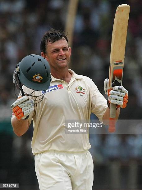 Adam Gilchrist of Australia reaches his century during day three of the First Test between Bangladesh and Australia played at the Fatullah Ground on...