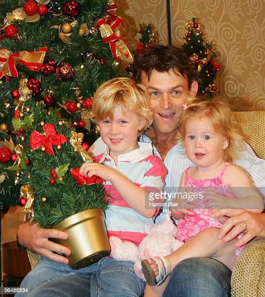 Adam Gilchrist of Australia with son Harry and daughter Annie are seen during the Australian Cricket Team's Christmas Lunch held at the Crown Casino...