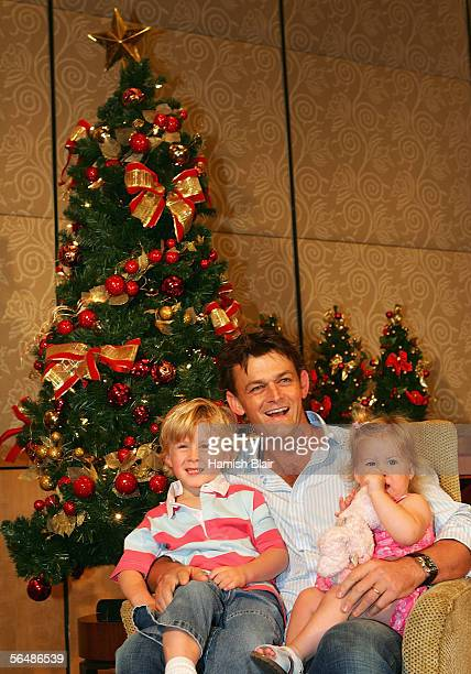 Adam Gilchrist of Australia with son Harry and daughter Annie during the Australian Cricket Team's Christmas Lunch held at the Crown Casino on...