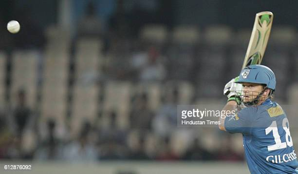 Adam Gilchrist of Chargers plays a shot during the Airtel Champions League Twenty20 Group A match between the Deccan Chargers and Somerset CCC at the...