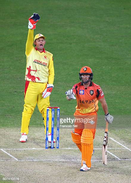 Adam Gilchrist of Sagittarius Strikers appeals successfully for the wicket of Jonty Rhodes of Virgo Super Kings during the Oxigen Masters Champions...